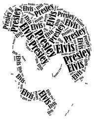 Elvis Presley portrait. Word cloud illustration.