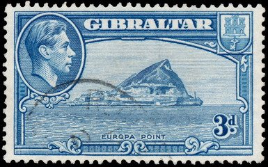 Stamp printed in GIBRALTAR shows image of the George VI