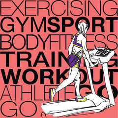 Illustration of Athletic woman on gym class walk treadmill runni