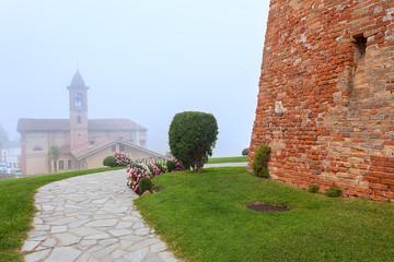 Grinzane Cavour in fog.
