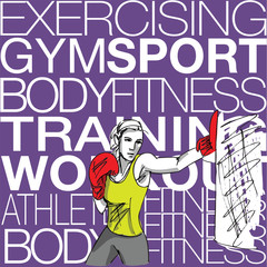 Illustration of woman with boxing gloves at workout, at gym