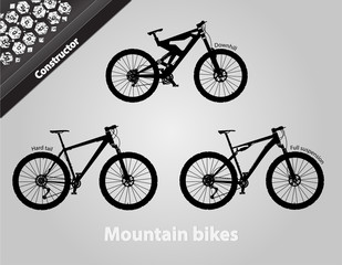 Mountain bikes. All the components are assembled.