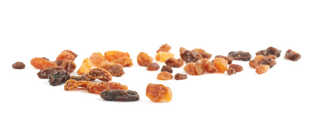 Spilled dried fruits raisins composition isolated
