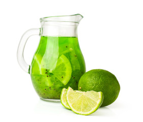 lime beverage in a glass jug