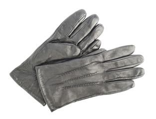 Crumpled leather gloves isolated