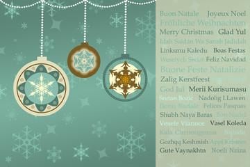 Weihnachtsgrüße auf Retro Weihnachts-Hintergrund