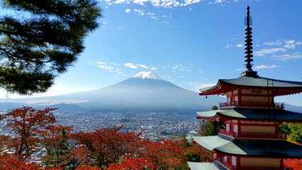 Mt.Fuji in autumn season with temple in red