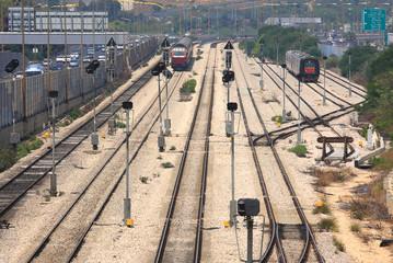 Trains on the tracks. Tel Aviv, Israel.