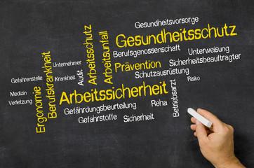 Word Cloud auf Tafel - Gesundheitsschutz und Arbeitssicherheit
