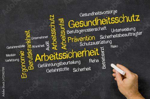 Leinwandbild Motiv Word Cloud auf Tafel - Gesundheitsschutz und Arbeitssicherheit