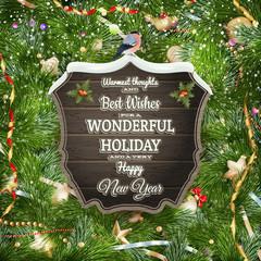 Golden Christmas greeting. EPS 10