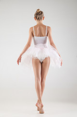 Ballerina in classical tutu over white background