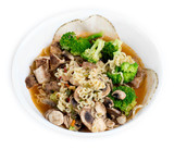 Chicken, broccoli, mushroom and sliced meat enhanced Japanese ra poster