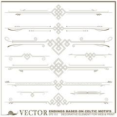 Vector decorative elements based on Celtic patterns