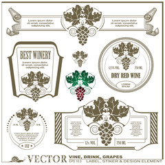 Border style labels on different versions - Vine, drink, grapes