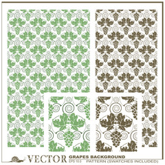 Vector pattern from grapes and grape leaves