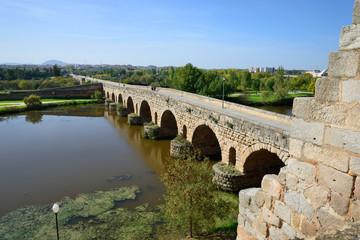 Roman bridge in Mérida, Spain.