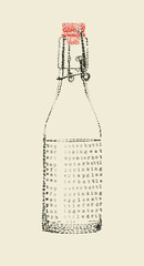 tap water bottle in typewriter art