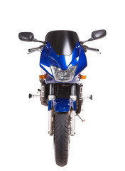 Blue sport motorbike. Front view.