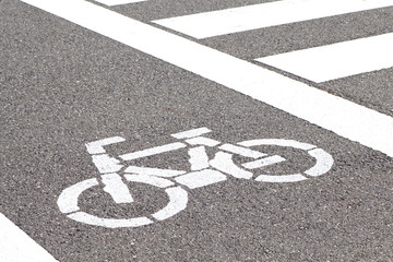 white bicycle sign and crosswalk on the street