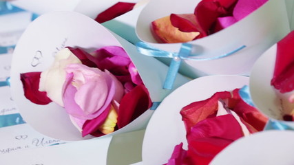 Packages with rose petals