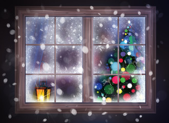 Winter night scene of window with Christmas tree and lantern.