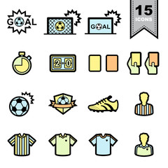 Soccer football Line icons set