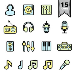 Music Line icons set.