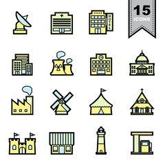 Building and Landmark Line icons set