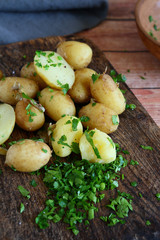 potatoes and greens on board