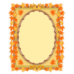 Frame with autumn leaves rowan and maple vector