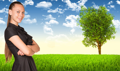 Businesswoman and nature landscape