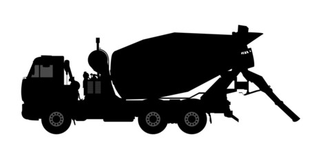 Silhouette of a concrete mixer.