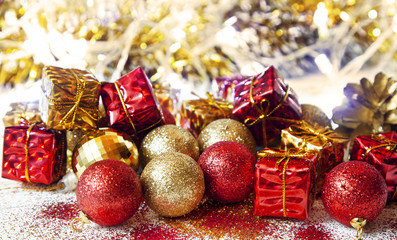 Christmas Glitter Golden and Red Balls and Gifts Decoration