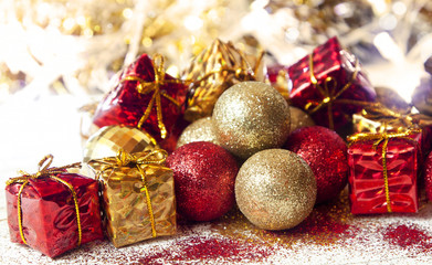 Christmas Glitter Golden and Red Balls and Gift Decoration
