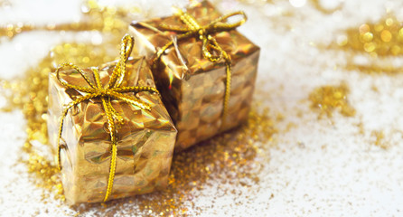 Shiny Golden Christmas Gifts with Glitter
