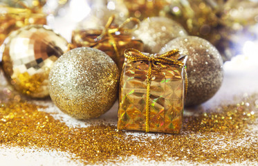 Shiny Golden Christmas Gifts and Balls