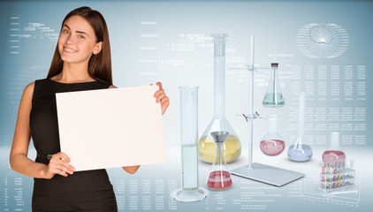 Businesswoman hold paper sheet. Flasks chemistry lab