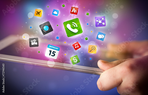 canvas print picture Hand touching tablet pc, social network concept