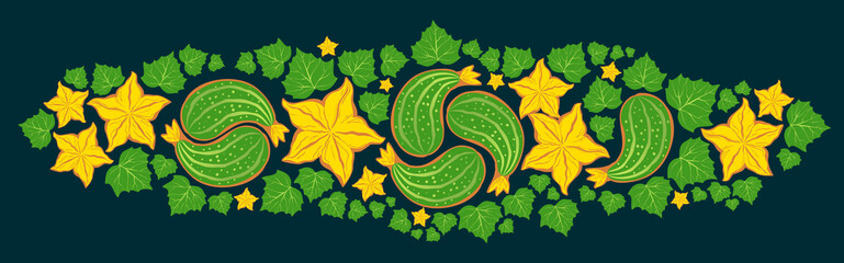 Cucumber paisley ornament with flowers and leaves