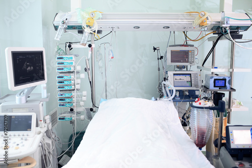 Modern technology in intensive care unit room