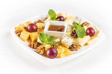 Cheese Plate with nuts and honey