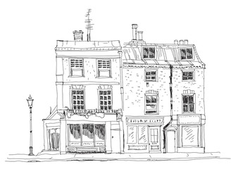 Old English town houses with shops on the ground floor. Sketch