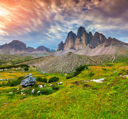 View of the National Park Tre Cime di Lavaredo. Dolomites, South