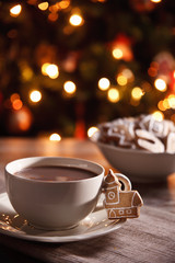 Hot chocolate with fresh gingerbread