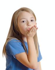 the little girl sends an air kiss