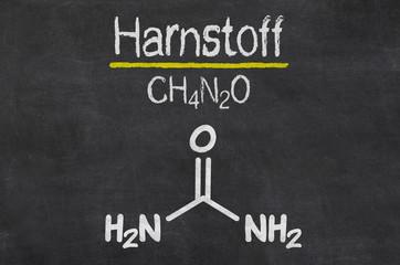 Schiefertafel mit der chemischen Formel von Harnstoff