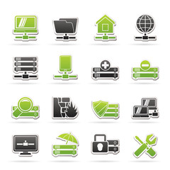 server, hosting and internet icons - vector icon set