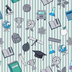 School pattern on striped background