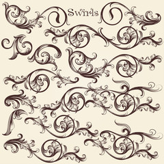 Vector set of hand drawn swirls in vintage style